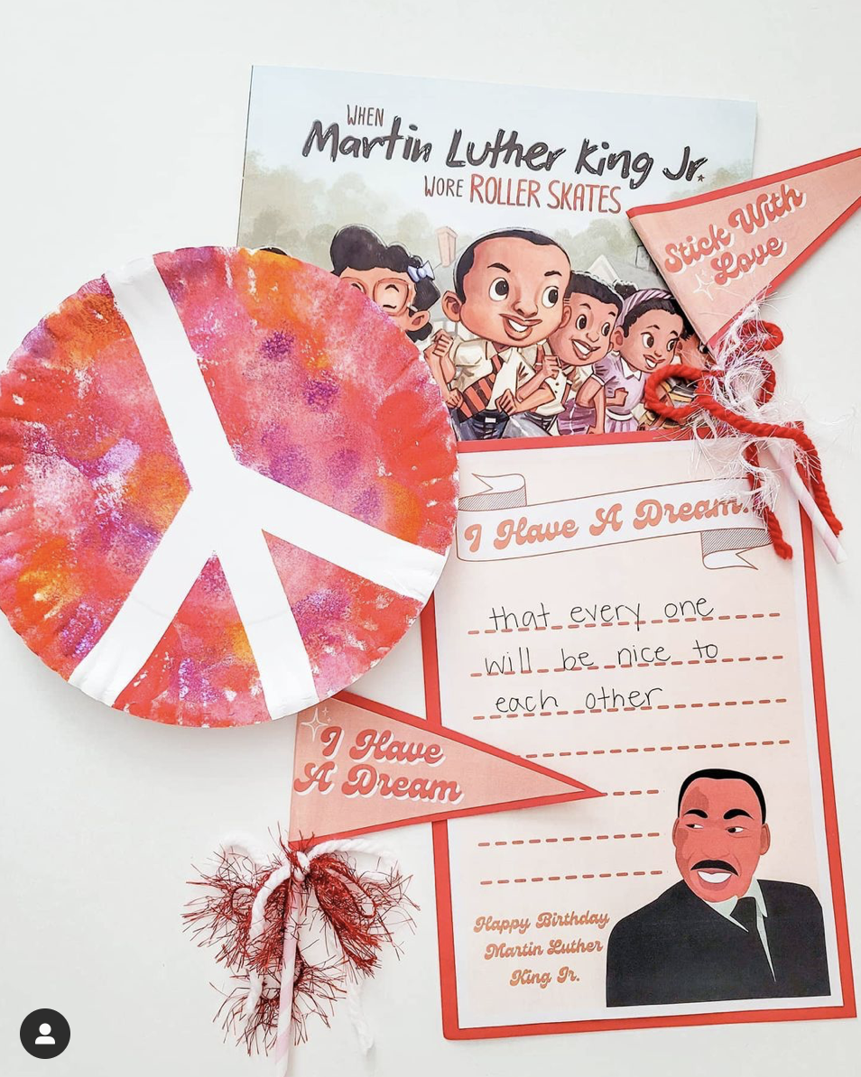 collage of Martin Luther King Jr Book, writing paper, I have a Dream pennant, and a paper plate peace sign craft