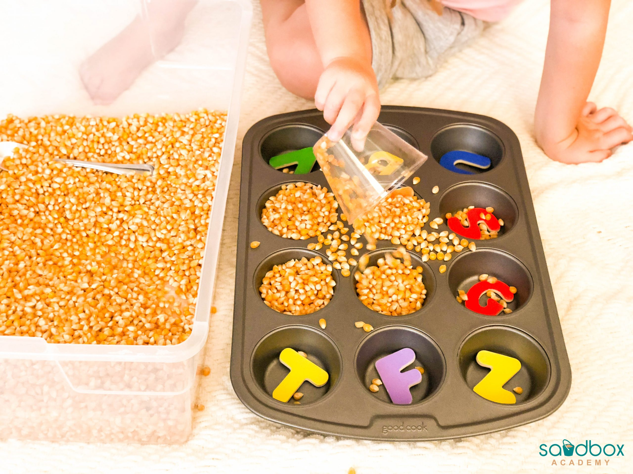 sensory bin with corn kernels being scooped into muffin tin